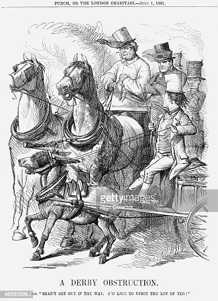 'A Derby Obstruction' 1861 Disraeli is endeavouring to obstruct the passage of the phaeton being driven by Lord Palmerston with Gladstone beside him...
