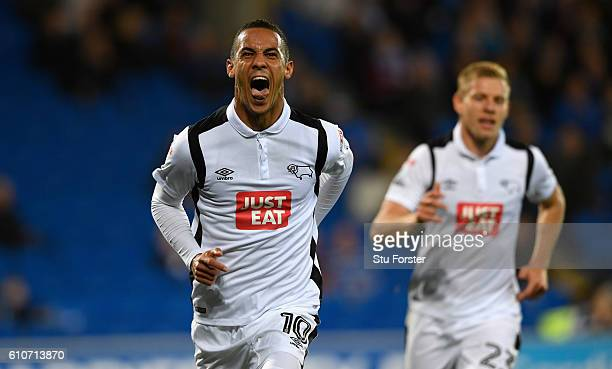 Derby player Tom Ince celebrates after scoring the opening goal during the Sky Bet Championship match between Cardiff City and Derby County at...