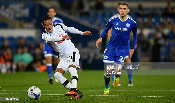 Derby player Tom Ince shoots to score the opening goal during the Sky Bet Championship match between Cardiff City and Derby County at Cardiff City...