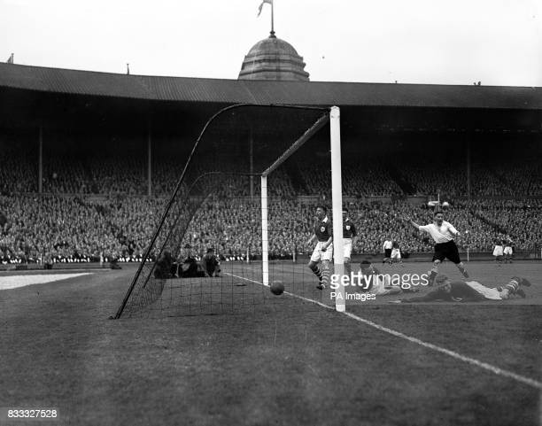 Derby scoring one of their goals during the Cup Final at Wembley they went on to beat Charlton 41