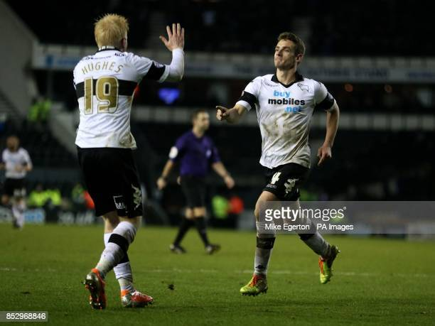Derby's Craig Bryson celebrates scoring their second goal during the Sky Bet Championship match at the iPro Stadium Derby