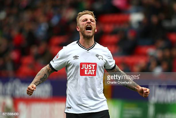 Derby's Johnny Russell celebrates after he scores the first goal of the game during the Sky Bet Championship match between Charlton Athletic and...