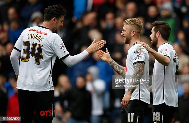 Derby's Johnny Russell celebrates his second goal during the Sky Bet Championship match between Derby County and Bolton Wanderers at the iPro Stadium...