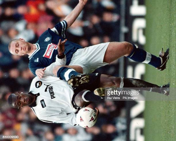 Derby's Paulo Wanchope and Leicester's Matt Elliott in action during the Premiership clash between Derby County v Leicester City today at Pride Park...