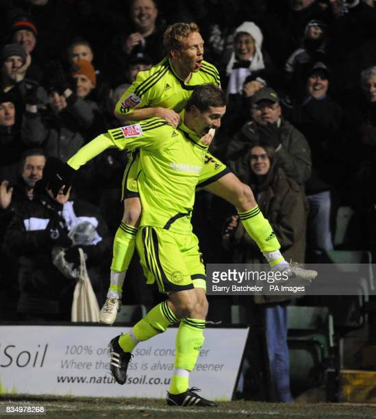 Derby's Steve Davis celebrates his goal with Paul Green during the FA Cup Third Round match at New Lawn Stadium Nailsworth