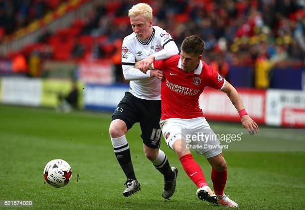 Derby's Will Hughes battles for the ball with Charlton's Johann Gudmundsson during the Sky Bet Championship match between Charlton Athletic and Derby...