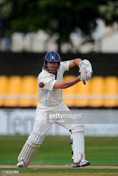 Derbyshire batsman Luke Sutton picks up some runs during day two of the Division Two LV County Championship match beteen Leicestershire and...