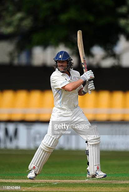 Derbyshire batsman Luke Sutton picks up some runs during the Division Two LV County Championship match beteen Leicestershire and Derbyshire at Grace...