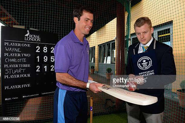 Derbyshire Captain Wayne Madsen watched by Tom Ibison of Guinness World Records as he achieves a new world record of 282 Cricket Bat Touches in 60...