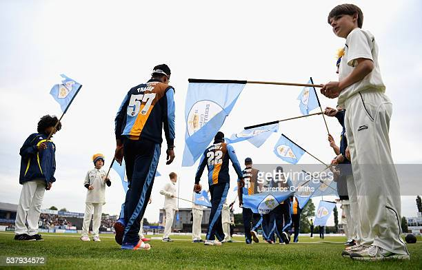 Derbyshire Falcons take the field during the NatWest T20 Blast match between Derbyshire Falcons and Leicestershire Foxes at The County Ground on June...
