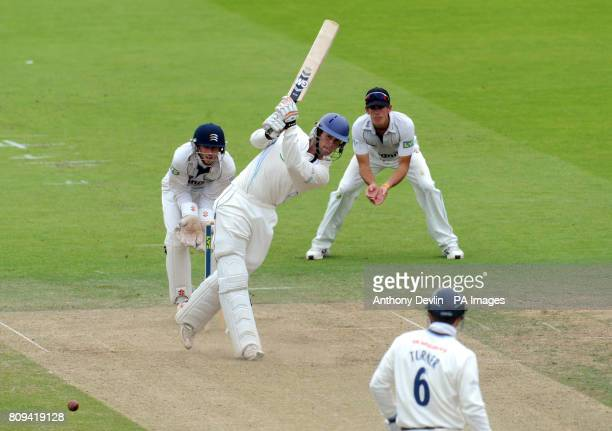 Derbyshire's Ross Whiteley bats during the LV= County Championship Division Two match at Lords London