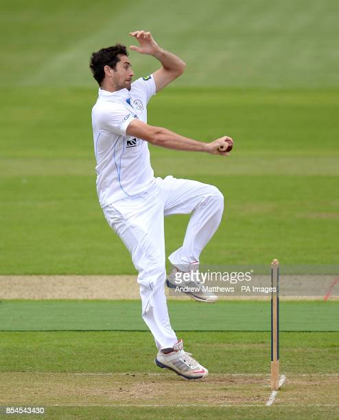 Derbyshire's Tim Groenewald bowls during the LV County Championship match at the Ageas Bowl Southampton PRESS ASSOCIATION Photo Picture date Tuesday...