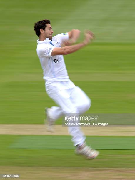 Derbyshire's Tim Groenewald bowls during the LV County Championship match at the Ageas Bowl Southampton