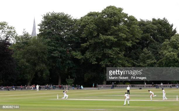 Derbyshire's Wayne Madsen hits for 4 from the bowling of Durham's Paul Coughlin during the Specsavers County Championship Division One match at...