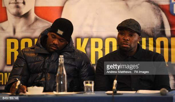 Dereck Chisora and his trainer Don Charles during the press conference at the Landmark Hotel London