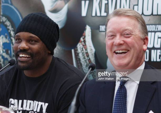 Dereck Chisora and promoter Frank Warren have a laugh during the head to head press conference at Fredericks Restaurant London