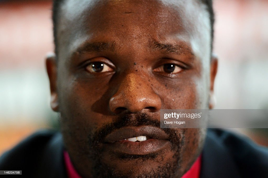 Dereck Chisora attends a press conference prior to the David Haye and Dereck Chisora fight, to be held on July 14 at Upton Park, at The Park Plaza Riverbank Hotel on June 12, 2012 in London, England.