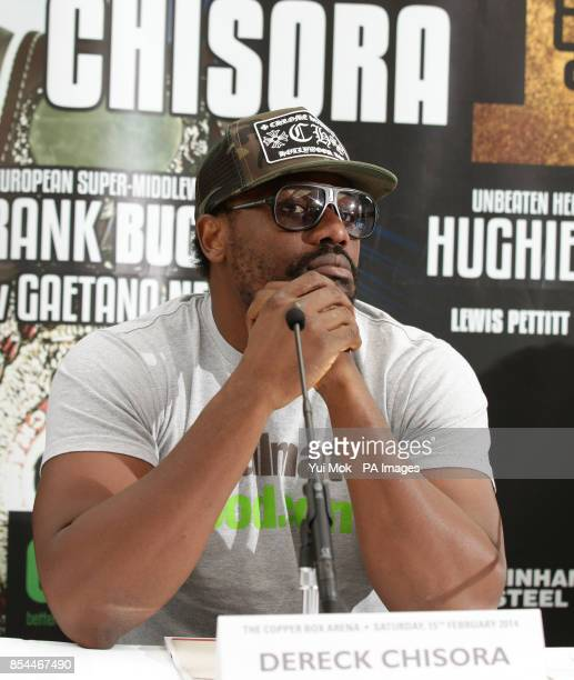 Dereck Chisora during the press conference at Fredericks Restaurant London