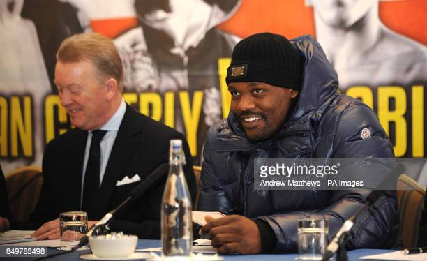 Dereck Chisora during the press conference at the Landmark Hotel London