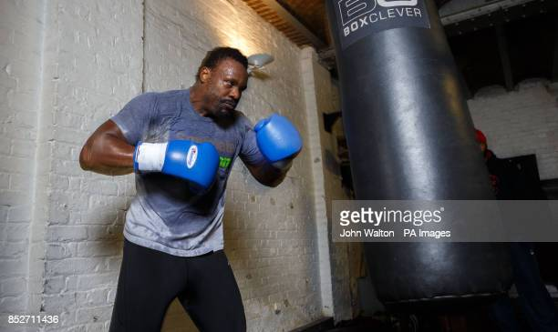 Dereck Chisora during the workout session at MyGym London London