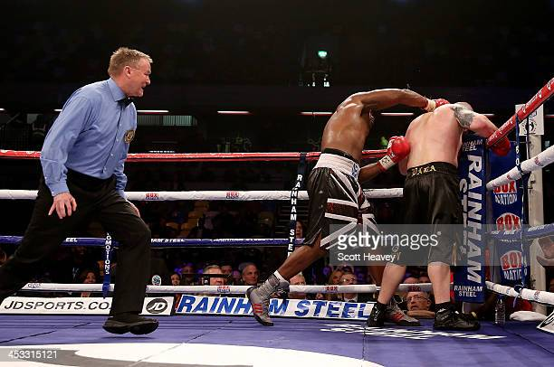Dereck Chisora finishes Ondrej Pala during their WBO and Vacant International Heavyweight Championship bout at The Copper Box on November 30 2013 in...