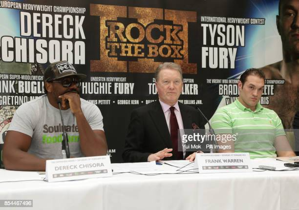 Dereck Chisora promoter Frank Warren and Tyson Fury during the press conference at Fredericks Restaurant London