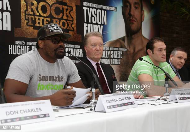 Dereck Chisora promoter Frank Warren Tyson Fury and Peter Fury during the press conference at Fredericks Restaurant London