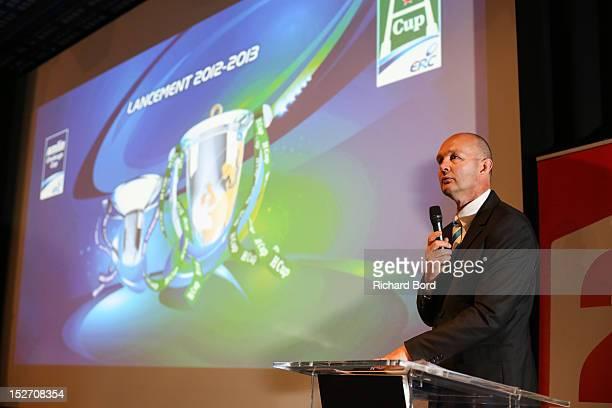 Dereck McGrath speaks during the Heineken Cup Launch press conference at France Television HQ on September 24 2012 in Paris France