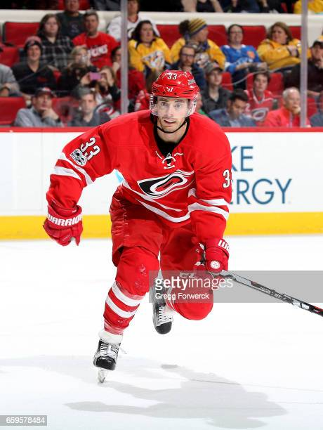 Dereck Ryan of the Carolina Hurricanes skates for position on the ice against the Nashville Predators during an NHL game on March 18 2017 at PNC...