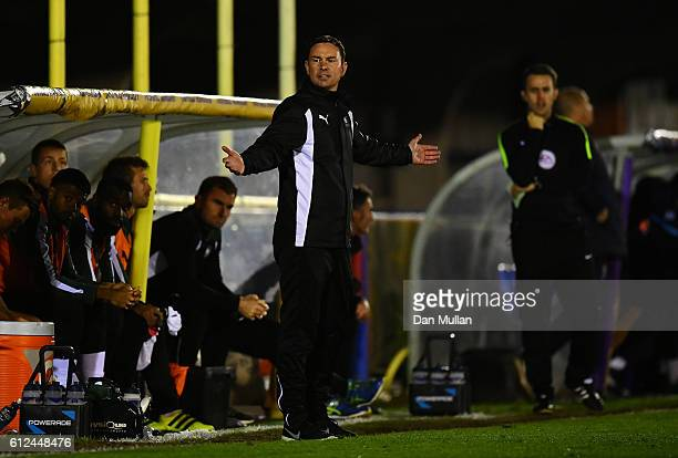 Derek Adams Manager of Plymouth Argyle reacts during the EFL Checkatrade Trophy match between AFC Wimbledon and Plymouth Argyle at The Cherry Red...