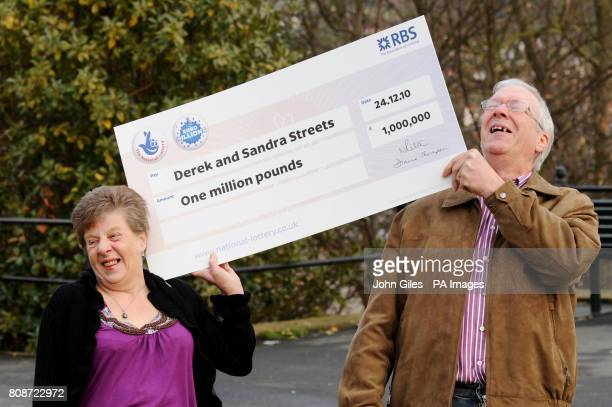 Derek and Sandra Streets celebrate their one million pound lottery win at the Crown Spa Hotel The Esplanade South Cliff Scarborough as they become...