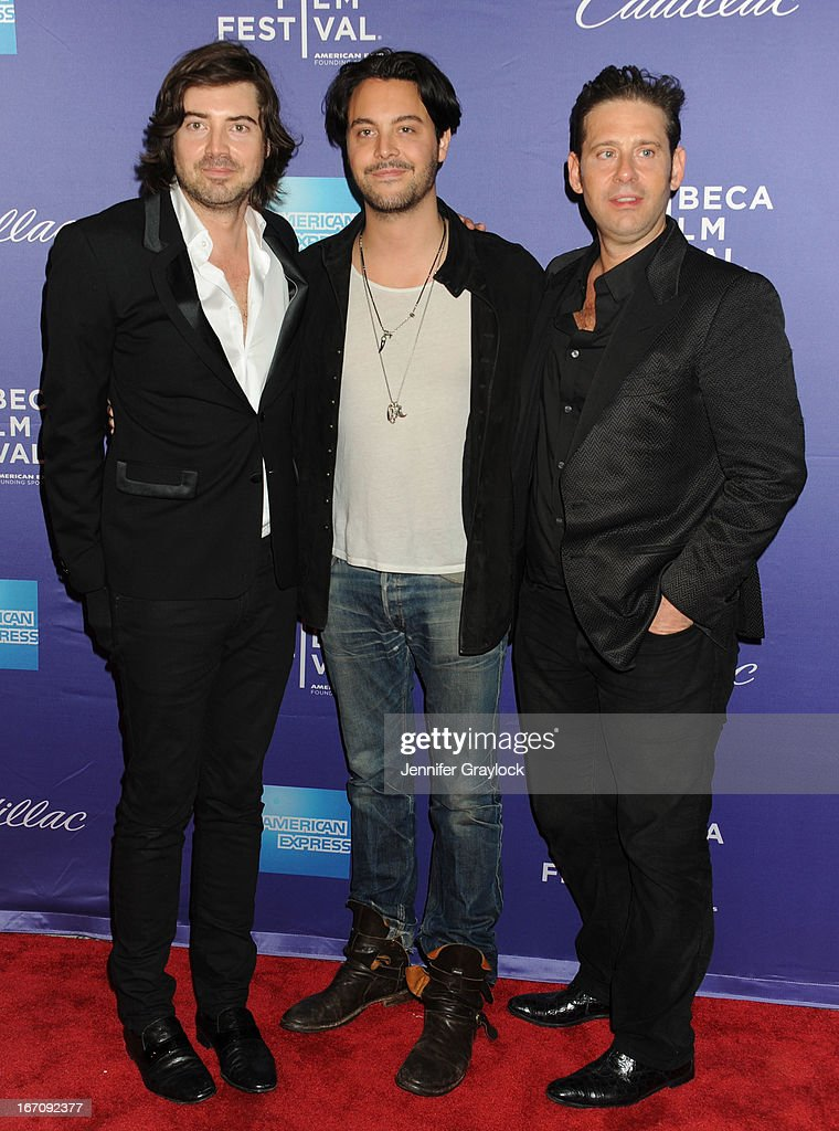 Derek Anderson, <a gi-track='captionPersonalityLinkClicked' href=/galleries/search?phrase=Jack+Huston&family=editorial&specificpeople=839493 ng-click='$event.stopPropagation()'>Jack Huston</a> and Victor Kubicek attend the 'In God We Trust' World Premiere - 2013 Tribeca Film Festival held at the SVA Theater on April 19, 2013 in New York City.