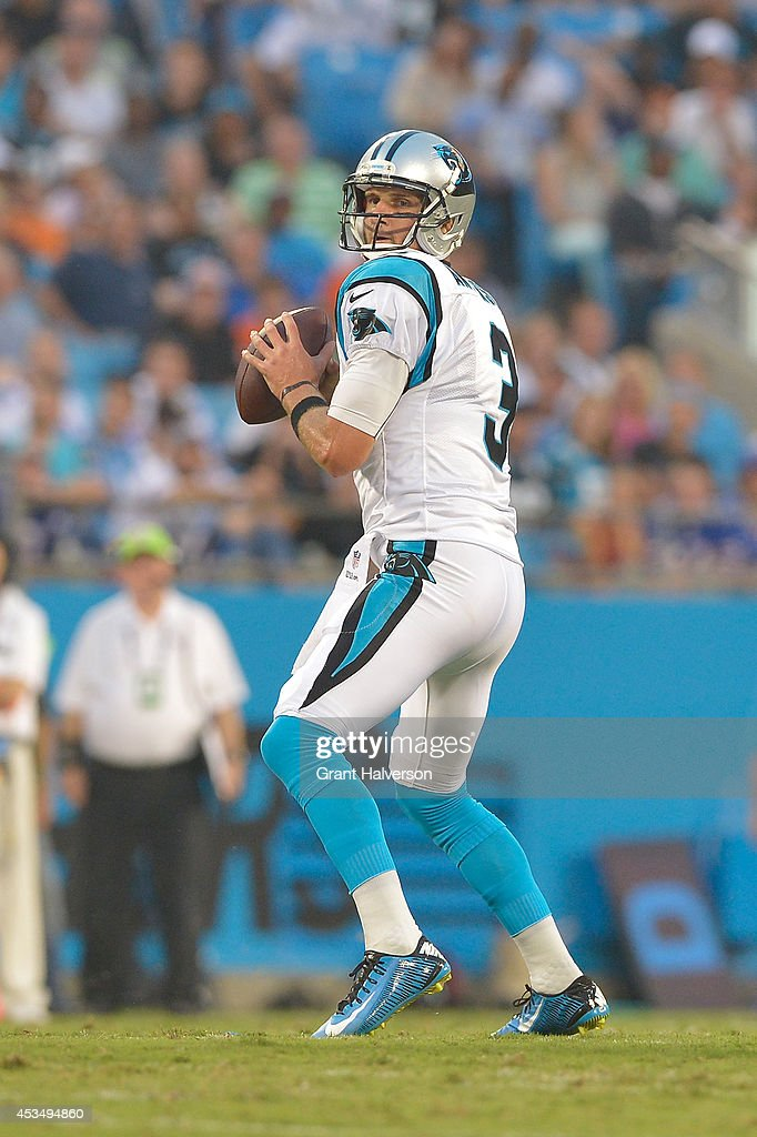 Derek Anderson #3 of the Carolina Panthers during their game against the Buffalo Bills at Bank of America Stadium on August 8, 2014 in Charlotte, North Carolina. Buffalo won 20-18.