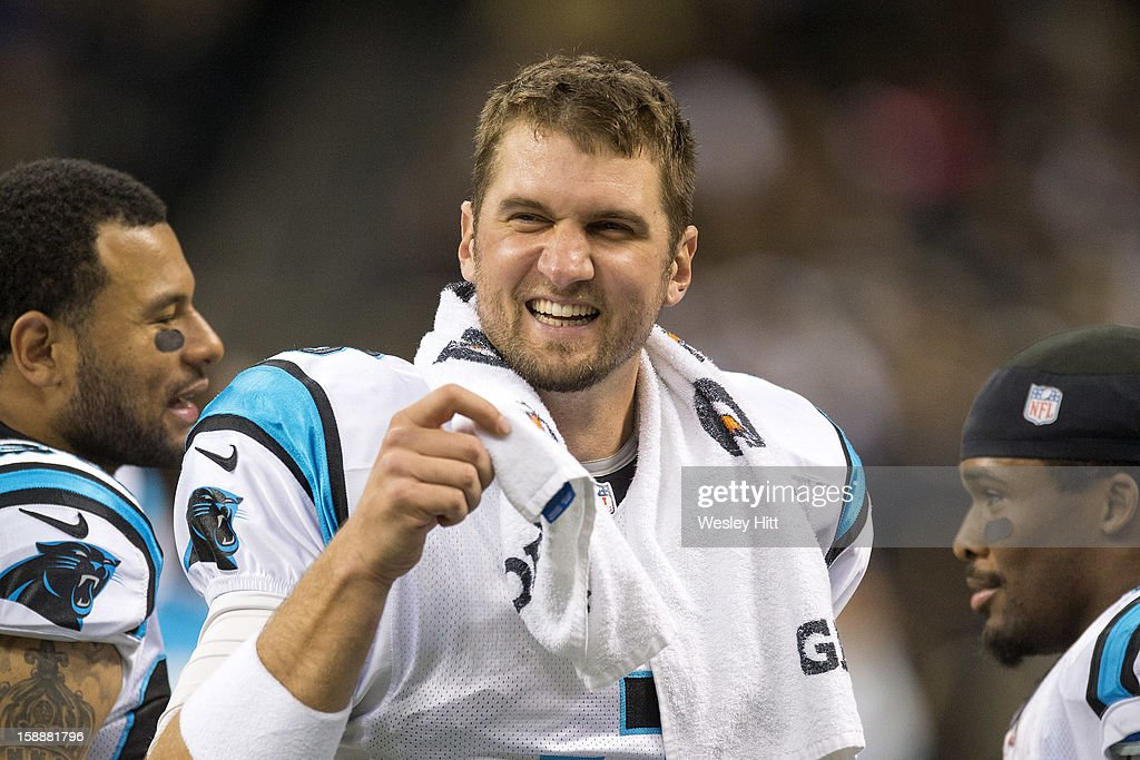 Derek Anderson #3 of the Carolina Panthers looks on from the sidelines during a game against the New Orleans Saints at Mercedes-Benz Superdome on December 30, 2012 in New Orleans, Louisiana. The Panthers defeated the Saints 44-38.