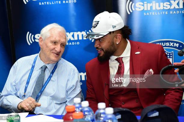 Derek Barnett of Tennessee talks with host Gil Brandt of SiriusXM NFL Radio talkshow after being picked overall by the Philadelphia Eagles during the...