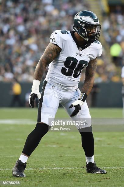 Derek Barnett of the Philadelphia Eagles anticipates a play during a preseason game against the Green Bay Packers at Lambeau Field on August 10 2017...