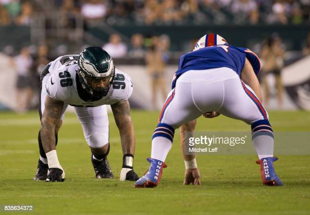 Derek Barnett of the Philadelphia Eagles lines up against Nick O'Leary of the Buffalo Bills in the preseason game at Lincoln Financial Field on...