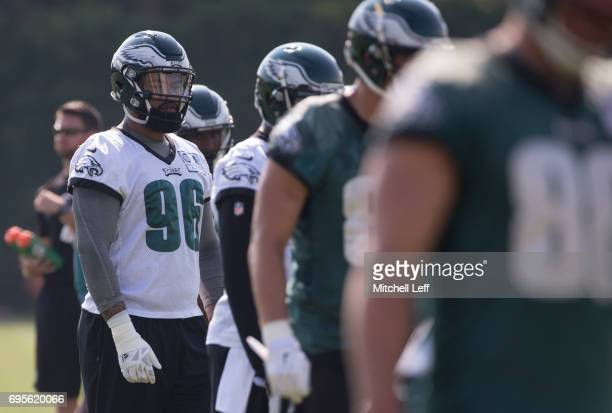 Derek Barnett of the Philadelphia Eagles looks on during mandatory minicamp at the NovaCare Complex on June 13 2017 in Philadelphia Pennsylvania