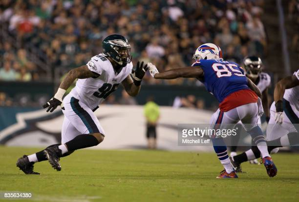 Derek Barnett of the Philadelphia Eagles plays against Charles Clay of the Buffalo Bills in the preseason game at Lincoln Financial Field on August...