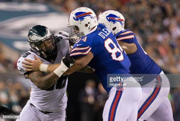 Derek Barnett of the Philadelphia Eagles plays against Nick O'Leary of the Buffalo Bills in the preseason game at Lincoln Financial Field on August...