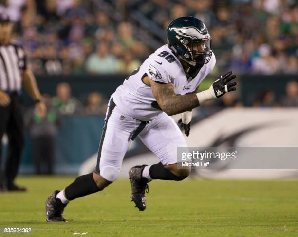 Derek Barnett of the Philadelphia Eagles plays against the Buffalo Bills in the preseason game at Lincoln Financial Field on August 17 2017 in...