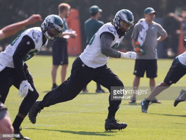 Derek Barnett of the Philadelphia Eagles runs down the field on a kickoff by during mandatory minicamp at the NovaCare Complex on June 13 2017 in...