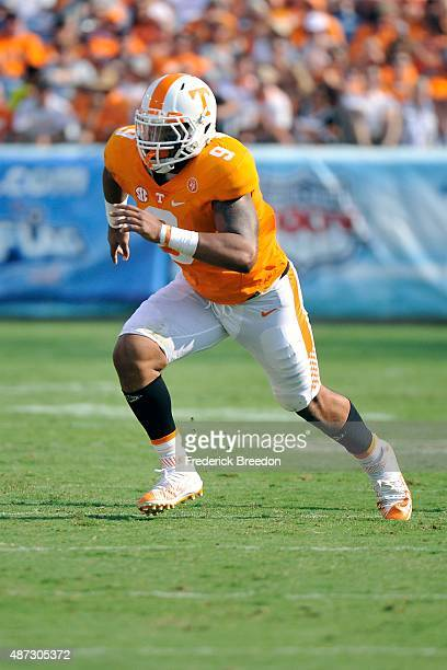 Derek Barnett of the Tennessee Volunteers plays against the Bowling Green Falcons at Nissan Stadium on September 5 2015 in Nashville Tennessee