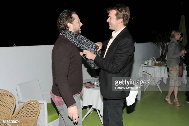 Derek Blasberg and Christopher Bollen attend INTERVIEW LVMH FENDI Art Basel Dinner at Solarium on December 2 2010 in Miami Florida