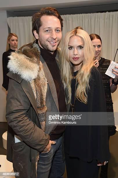Derek Blasberg and designer Rachel Zoe attend the Rachel Zoe presentation during MercedesBenz Fashion Week Fall 2015 at Affirmation Arts on February...