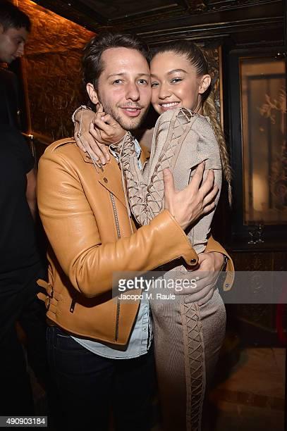 Derek Blasberg and Gigi Hadid attend Balmain aftershow party as part of Paris Fashion Week Womenswear Spring/Summer 2016 at Laperouse on October 1...