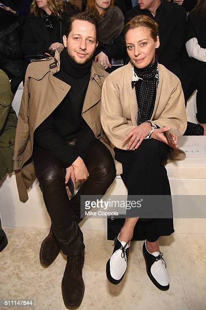 Derek Blasberg and Jessica Diehl attend the Ralph Lauren Fall 2016 fashion show during New York Fashion Week The Shows at Skylight Clarkson Sq on...