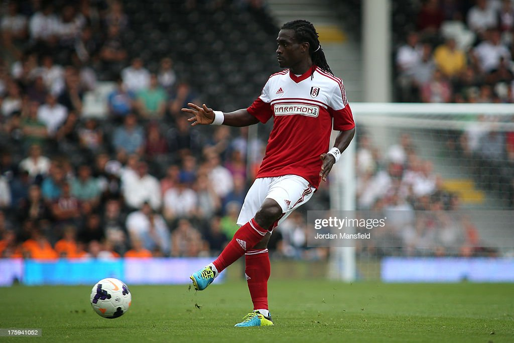 <a gi-track='captionPersonalityLinkClicked' href=/galleries/search?phrase=Derek+Boateng&family=editorial&specificpeople=535783 ng-click='$event.stopPropagation()'>Derek Boateng</a> of Fulham in action during the pre-season friendly match between Fulham and Parma FC at Craven Cottage on August 10, 2013 in London, England.
