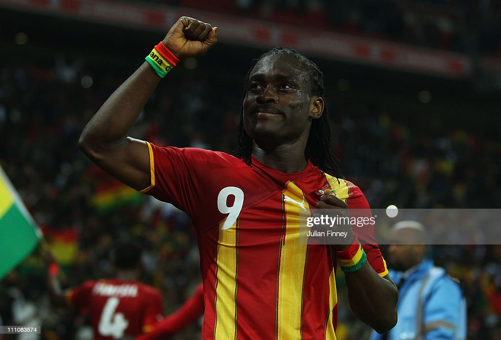 <a gi-track='captionPersonalityLinkClicked' href=/galleries/search?phrase=Derek+Boateng&family=editorial&specificpeople=535783 ng-click='$event.stopPropagation()'>Derek Boateng</a> of Ghana celebrates after the international friendly match between England and Ghana at Wembley Stadium on March 29, 2011 in London, England.