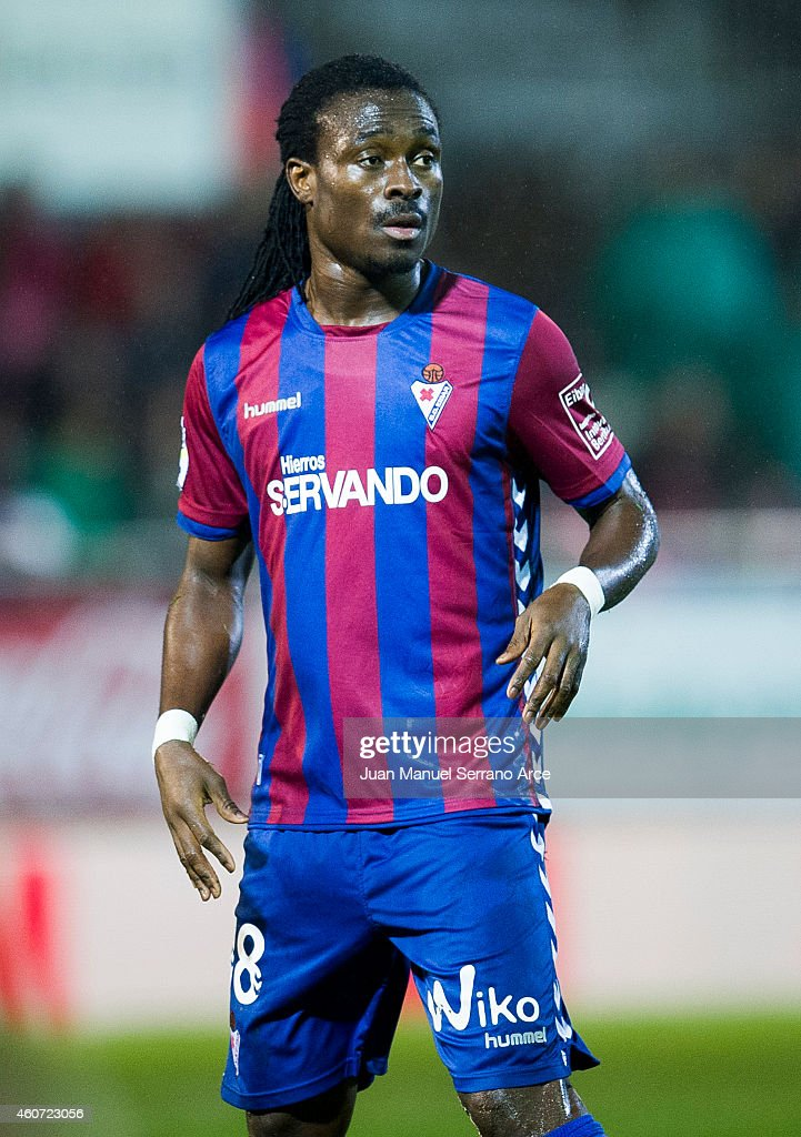 <a gi-track='captionPersonalityLinkClicked' href=/galleries/search?phrase=Derek+Boateng&family=editorial&specificpeople=535783 ng-click='$event.stopPropagation()'>Derek Boateng</a> of SD Eibar reacts during the La Liga match between SD Eibar and Valencia CF at Ipurua Municipal Stadium on December 20, 2014 in Eibar, Spain.